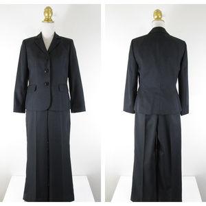 Nine West Black Pinstripe Pant Suit Career 6